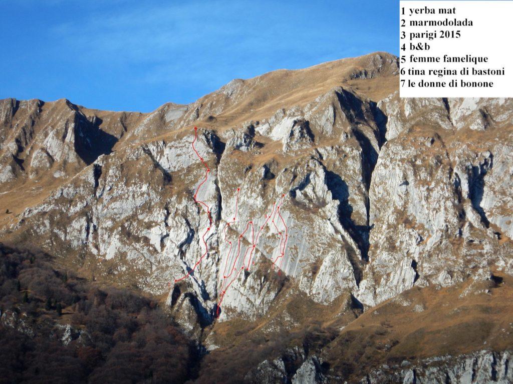 Palestra di roccia del Col Mat con disegnate le vie